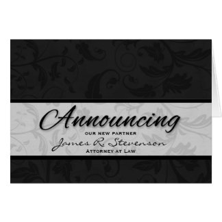 Business Announcement Black Damask Greeting Card