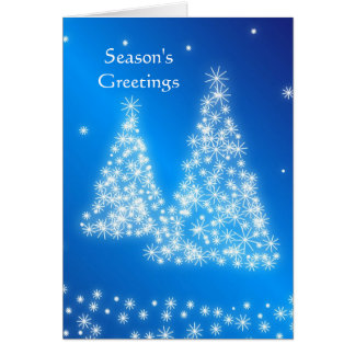 Business blue white Christmas tree Greeting Cards