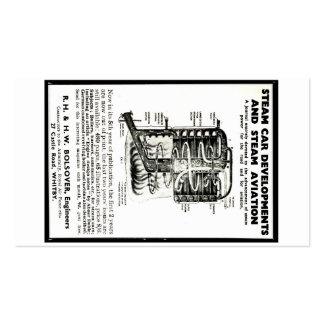 Business Card Advert Steam Cars and Steam Aviation