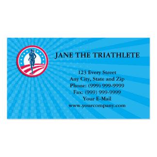 Business card American Female Triathlete Marathon