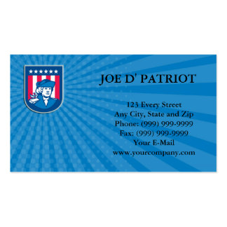 Business card American Patriot Head Bust Shield Re