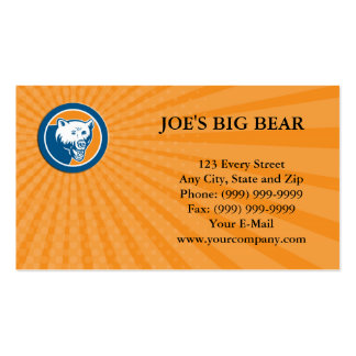 Business card Angry Bear Head Circle Retro