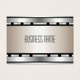 Business Card Art Deco Black Silver Beige Stripe