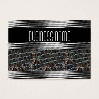 Business Card Art Deco Black Silver Leather