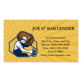 Business card Bartender Worker Pouring Beer From B