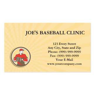 Business card Baseball Catcher Gloves Circle Retro