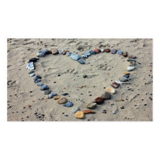 Business Card - Beach Theme with Stone Heart