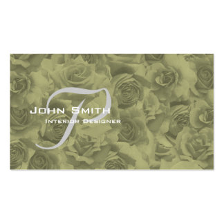 Business Card Beautiful Sepia Roses With Monogram