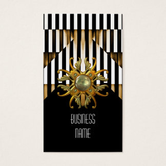 Business Card Black Gold Stripe Jewel