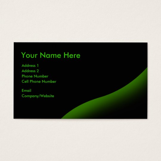Business Card - Black - Green Swirl