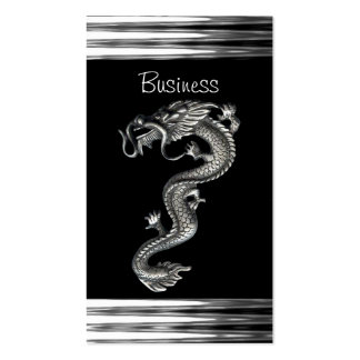 Business Card Black Silver Dragon Serpent Jewel