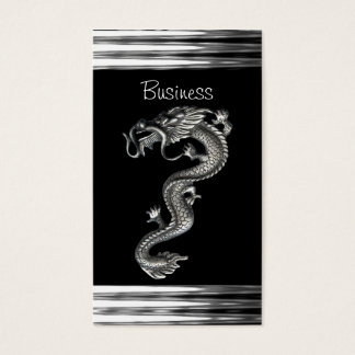 Business Card Black Silver Dragon Serpent Jewel