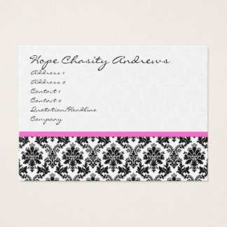 Business Card Black White Damask with Pink Ribbon