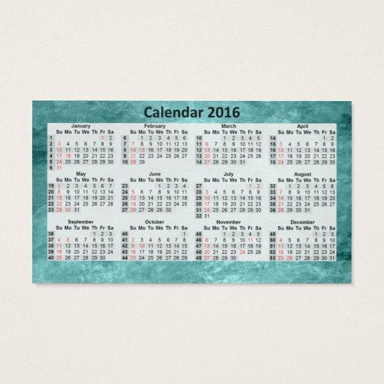 Business Card Calendar 2016 Blue Marbeled.