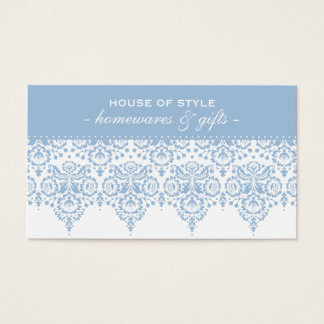 BUSINESS CARD classy damask pastel pale blue