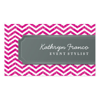 BUSINESS CARD cool chevron stripe hot pink grey