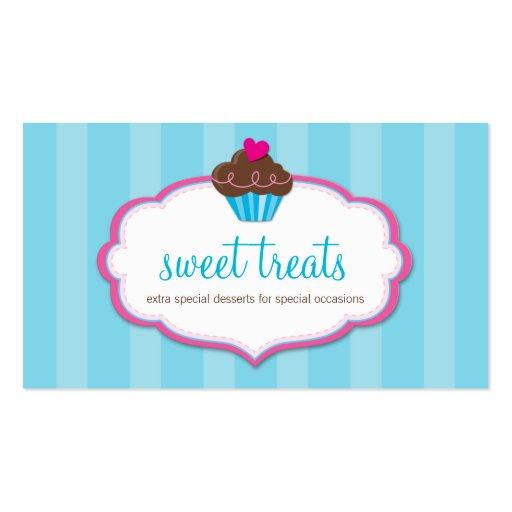 BUSINESS CARD cute bold cupcake aqua blue pink