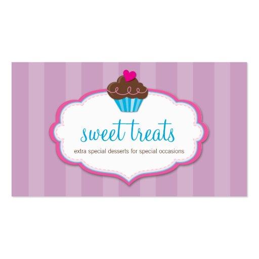 BUSINESS CARD cute bold cupcake pink purple
