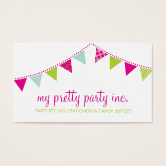 BUSINESS CARD :: cute bunting pink lime mint