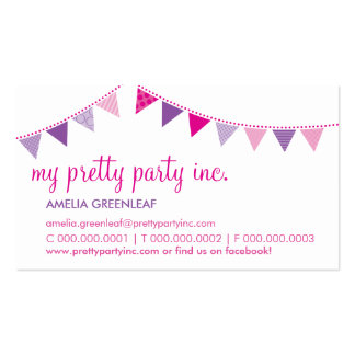 BUSINESS CARD :: cute bunting pink purple