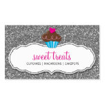 BUSINESS CARD cute cupcake pink silver glitter