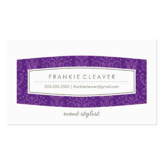 BUSINESS CARD cute damask pattern panel purple