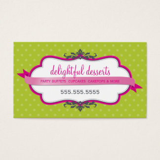 BUSINESS CARD cute stylish fuschia pink lime green
