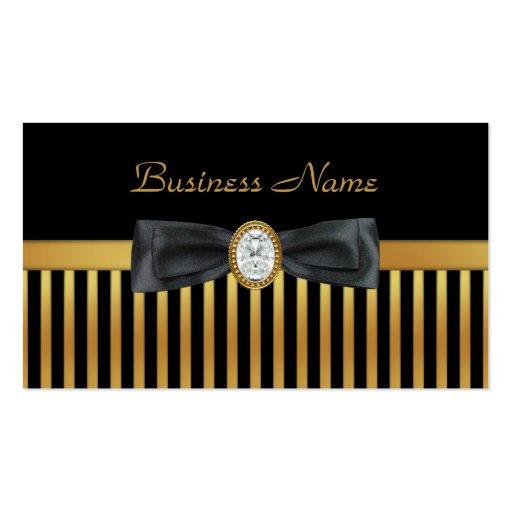 Business Card Diamond Gold Black Stripe Bow