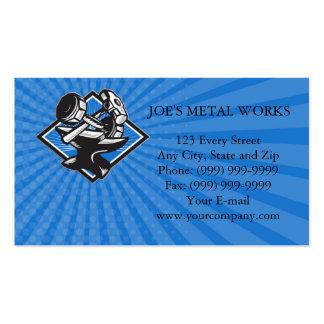 Business card Dumbbell Sledgehammer and Anvil Retr