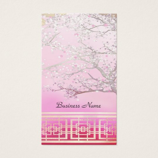 Business Card Elegant Asian Scene Pink