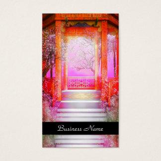 Business Card Elegant Asian Scene Silver Pink