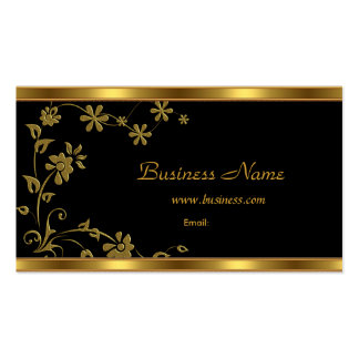 Business Card Elegant Black Floral Gold