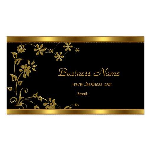 Business Card Elegant Black Floral Gold