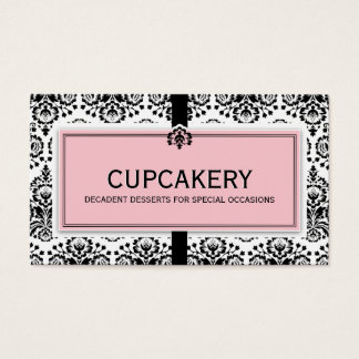 BUSINESS CARD elegant damask black pastel pink