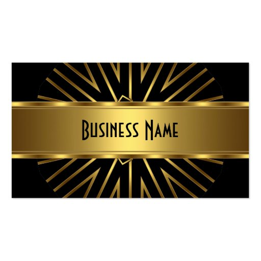 Business Card Elegant Gold Abstract on Black Business Card