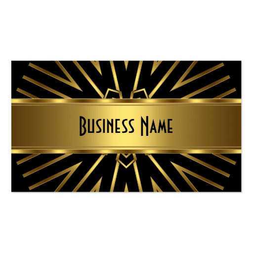 Business Card Elegant Gold Abstract on Black Business Card Template