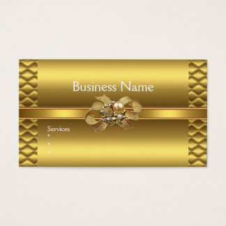Business Card Elegant Gold BowsTile Trim Jewel