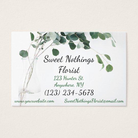 Business Card Floral Florist Leaves Modern
