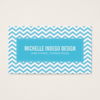 BUSINESS CARD fresh chevron pattern aqua blue