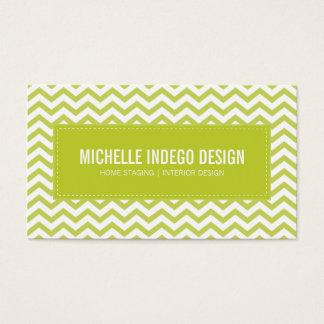 BUSINESS CARD fresh chevron pattern lime green