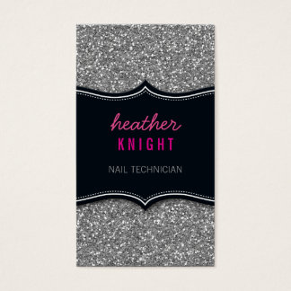 BUSINESS CARD glitzy glitter black silver pink