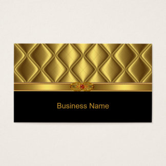 Business Card Gold Tile Trim Red Jewel