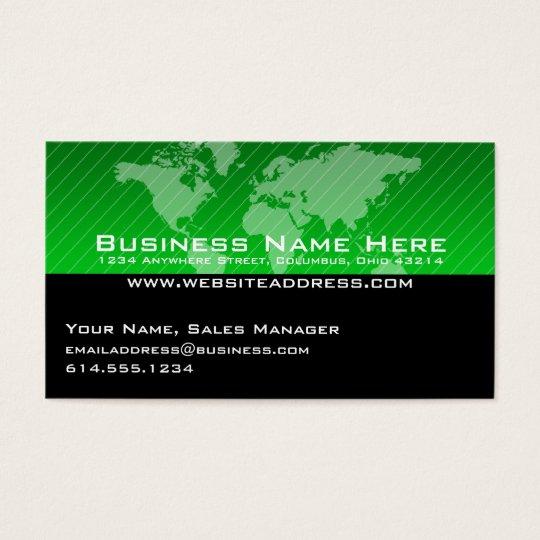 Business Card :: Green World Map Design 3