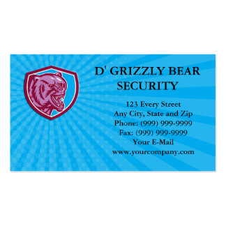 Business card Grizzly Bear Angry Head Shield Retro