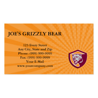 Business card Grizzly Bear Head Shield Retro
