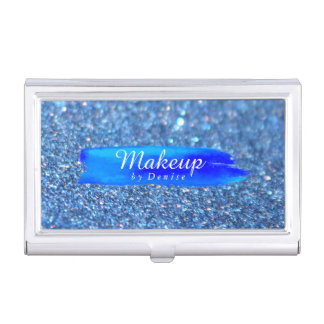 Business Card Holder - Makeup Glitter Blue