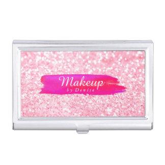 Business Card Holder - Makeup Glitter Pink