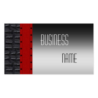 Business Card Leather Silver Black Red