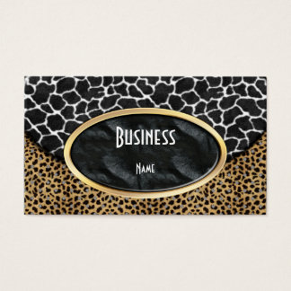 Business Card Leopard Black White Cow Purse