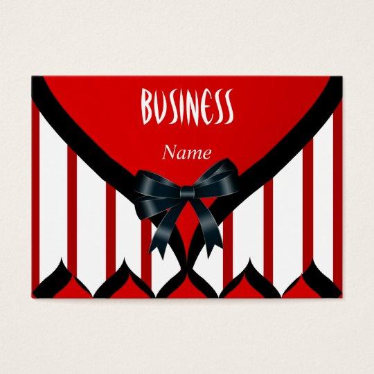 Business Card Modern Black Red White Stripe Bow